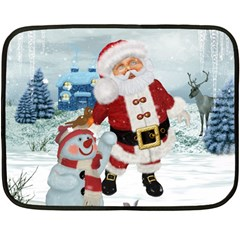 Funny Santa Claus With Snowman Fleece Blanket (mini) by FantasyWorld7
