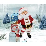 Funny Santa Claus With Snowman Deluxe Canvas 14  x 11  14  x 11  x 1.5  Stretched Canvas