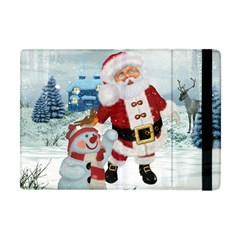 Funny Santa Claus With Snowman Apple Ipad Mini Flip Case by FantasyWorld7