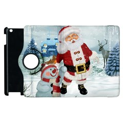 Funny Santa Claus With Snowman Apple Ipad 2 Flip 360 Case by FantasyWorld7
