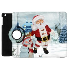Funny Santa Claus With Snowman Apple Ipad Mini Flip 360 Case by FantasyWorld7