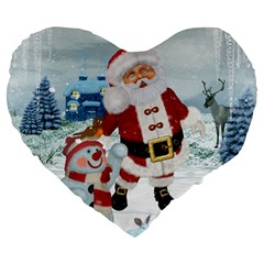 Funny Santa Claus With Snowman Large 19  Premium Heart Shape Cushions by FantasyWorld7