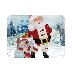 Funny Santa Claus With Snowman Double Sided Flano Blanket (mini)  by FantasyWorld7