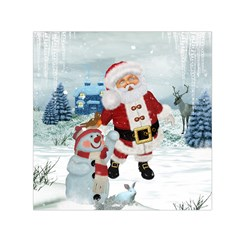 Funny Santa Claus With Snowman Small Satin Scarf (square)  by FantasyWorld7
