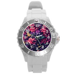 Mosaic Pattern 8 Round Plastic Sport Watch (l) by tarastyle