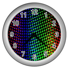 Digitally Created Halftone Dots Abstract Background Design Wall Clocks (silver)  by Nexatart