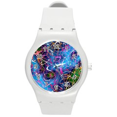 Background Chaos Mess Colorful Round Plastic Sport Watch (m)