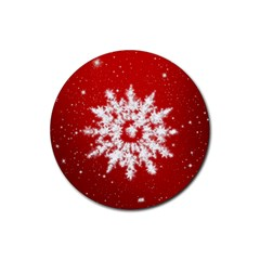 Background Christmas Star Rubber Coaster (round)