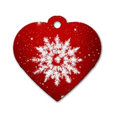 Background Christmas Star Dog Tag Heart (two Sides) by Nexatart
