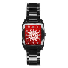 Background Christmas Star Stainless Steel Barrel Watch
