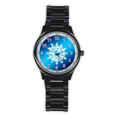 Background Christmas Star Stainless Steel Round Watch by Nexatart