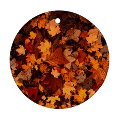 Fall Foliage Autumn Leaves October Ornament (round) by Nexatart