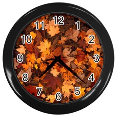 Fall Foliage Autumn Leaves October Wall Clocks (black) by Nexatart