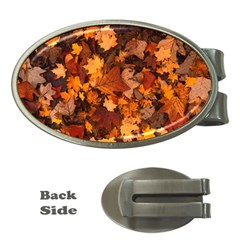 Fall Foliage Autumn Leaves October Money Clips (oval)  by Nexatart