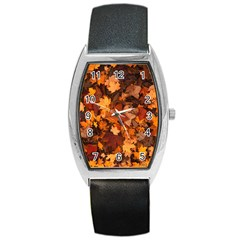 Fall Foliage Autumn Leaves October Barrel Style Metal Watch by Nexatart