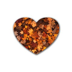 Fall Foliage Autumn Leaves October Rubber Coaster (heart)  by Nexatart