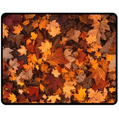 Fall Foliage Autumn Leaves October Double Sided Fleece Blanket (medium)  by Nexatart