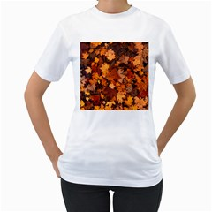 Fall Foliage Autumn Leaves October Women s T Shirt (white)