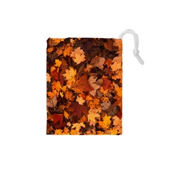 Fall Foliage Autumn Leaves October Drawstring Pouches (small)