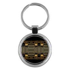 Board Digitization Circuits Key Chains (round)  by Nexatart
