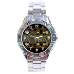 Board Digitization Circuits Stainless Steel Analogue Watch