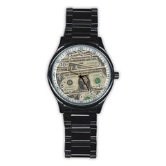 Dollar Currency Money Us Dollar Stainless Steel Round Watch
