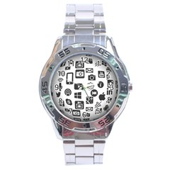 Icon Ball Logo Google Networking Stainless Steel Analogue Watch by Nexatart