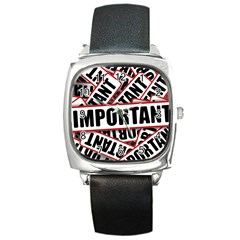 Important Stamp Imprint Square Metal Watch