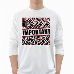 Important Stamp Imprint White Long Sleeve T Shirts