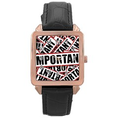 Important Stamp Imprint Rose Gold Leather Watch  by Nexatart