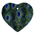 Peacock Feathers Blue Bird Nature Heart Ornament (Two Sides) Front