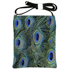Peacock Feathers Blue Bird Nature Shoulder Sling Bags