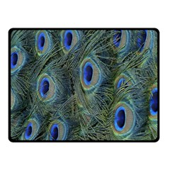 Peacock Feathers Blue Bird Nature Double Sided Fleece Blanket (small)