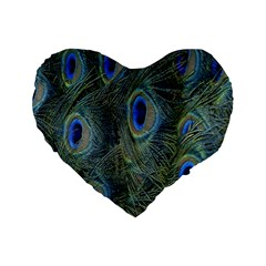 Peacock Feathers Blue Bird Nature Standard 16  Premium Flano Heart Shape Cushions by Nexatart