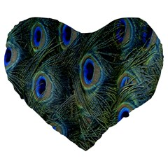 Peacock Feathers Blue Bird Nature Large 19  Premium Flano Heart Shape Cushions by Nexatart