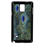 Peacock Feathers Blue Bird Nature Samsung Galaxy Note 4 Case (Black) Front