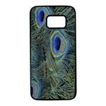 Peacock Feathers Blue Bird Nature Samsung Galaxy S7 Black Seamless Case Front