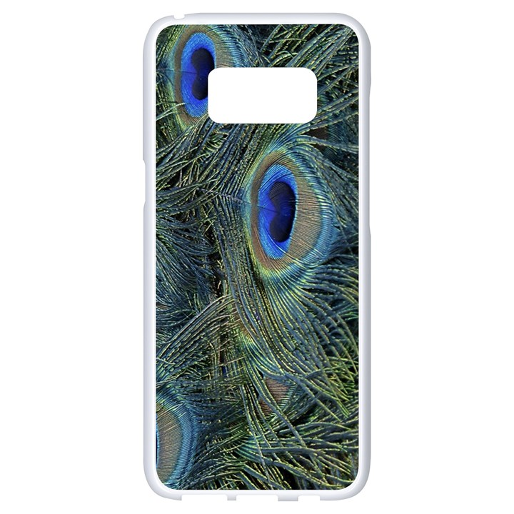 Peacock Feathers Blue Bird Nature Samsung Galaxy S8 White Seamless Case
