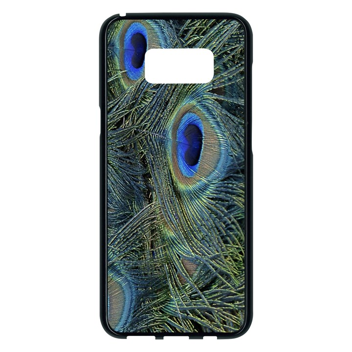Peacock Feathers Blue Bird Nature Samsung Galaxy S8 Plus Black Seamless Case