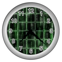 Matrix Earth Global International Wall Clocks (silver)  by Nexatart