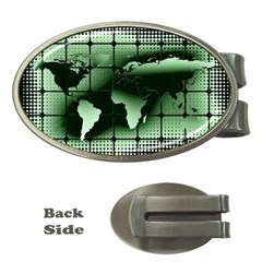 Matrix Earth Global International Money Clips (oval)  by Nexatart