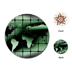 Matrix Earth Global International Playing Cards (round)  by Nexatart