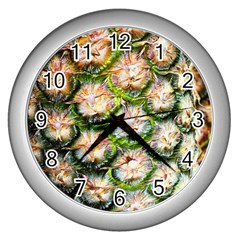 Pineapple Texture Macro Pattern Wall Clocks (silver)  by Nexatart