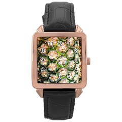 Pineapple Texture Macro Pattern Rose Gold Leather Watch  by Nexatart