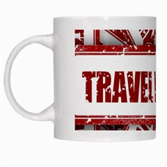 Travel Warning Shield Stamp White Mugs