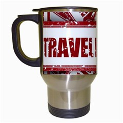 Travel Warning Shield Stamp Travel Mugs (white) by Nexatart