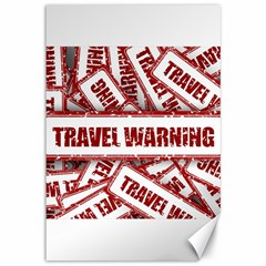 Travel Warning Shield Stamp Canvas 12  X 18   by Nexatart