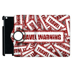 Travel Warning Shield Stamp Apple Ipad 3/4 Flip 360 Case by Nexatart
