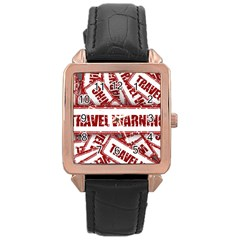 Travel Warning Shield Stamp Rose Gold Leather Watch