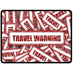 Travel Warning Shield Stamp Double Sided Fleece Blanket (large)  by Nexatart